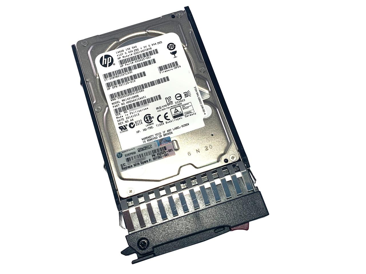 """507283-001 HP 146GB 10K 6Gbps 2.5"""" SFF SAS Hard Drive In Tray 507125-b21"""