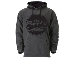 Mountain Trout Hoodie- Dark Grey/Black - Unisex