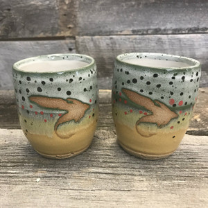 "Set of Whiskey ""Fly"" Trout Cups"