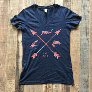 RRH Arrow Tee- Navy w/Coral