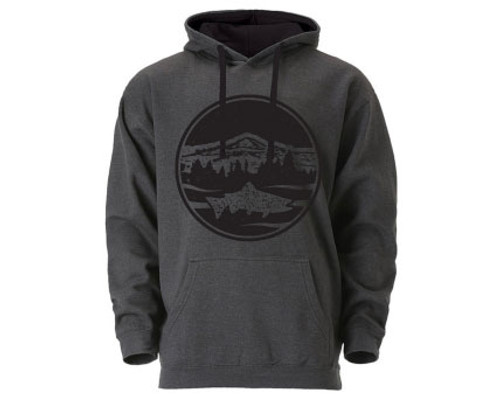 Mountain Trout Hoodie- Dark Grey/Black - Unisex