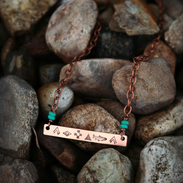 Spirit Animal Trout Bar Necklace