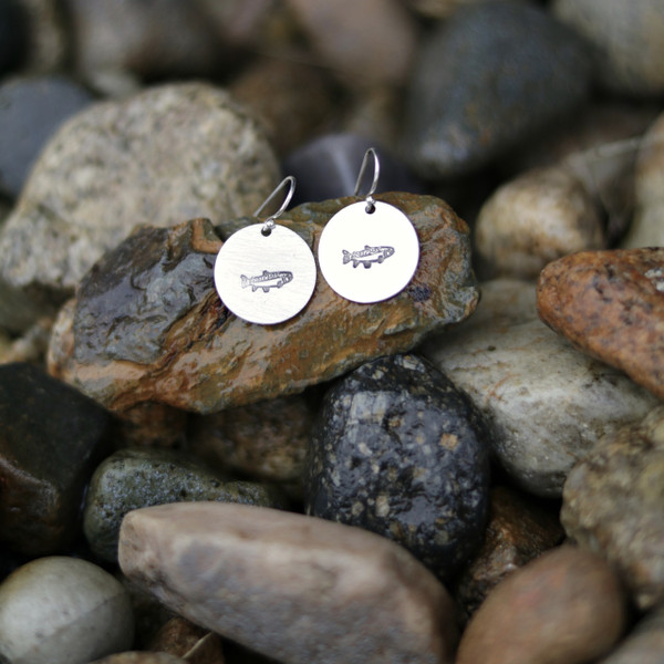"**NEW** ""Trout"" Stamped Earrings - Silver Pewter"