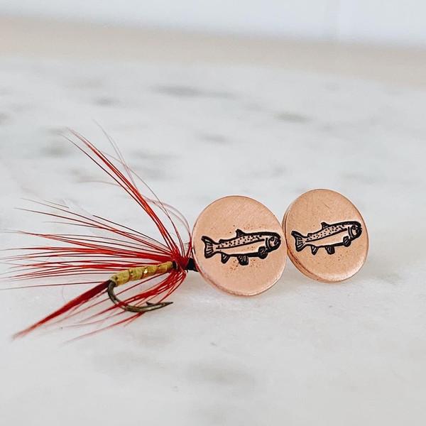 Trout Disc Earrings- Post Back