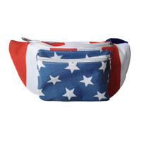 Front view - 3 pocket american flag fanny pack