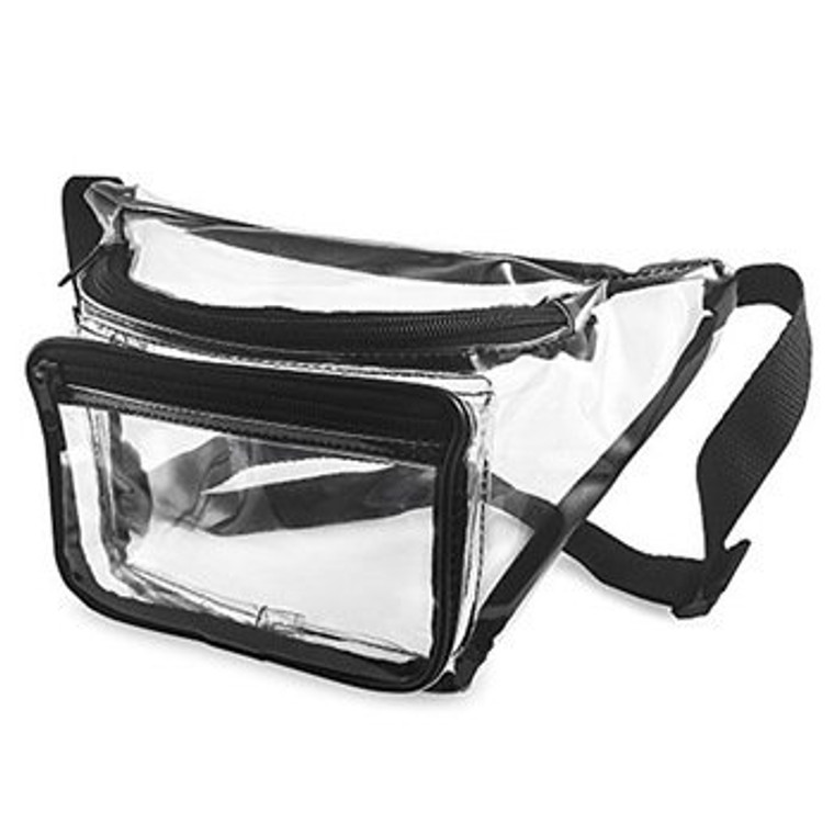 Front view of clear fanny pack