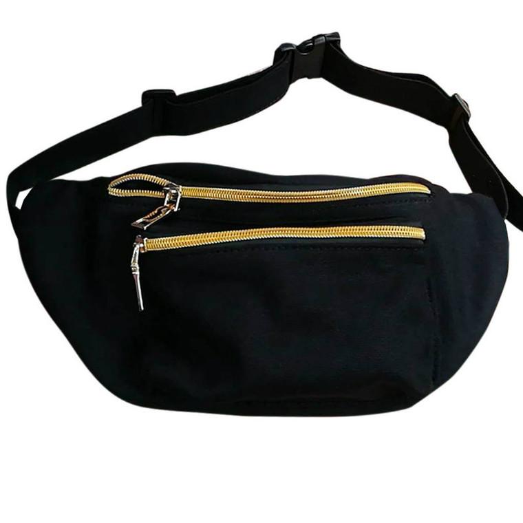 Black Fanny Pack Cute Womens Fanny Packs Gold Zipper Hip Pack Bum Bag Waist Pack