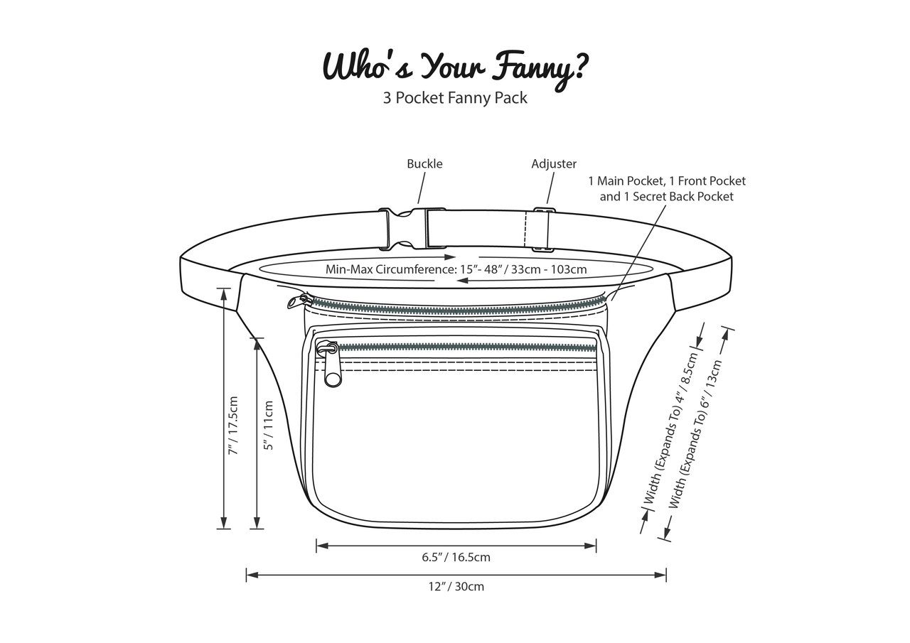 Dimensions For Tribe Fanny Pack