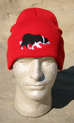 Knit Cap with Embroidered Border Collie