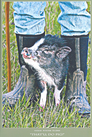 """That'll Do Pig"" Note Card by Vickie Akins Close"