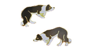 Border Collie Cloisonne Earrings