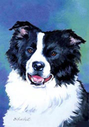 Border Collie Portrait Flag