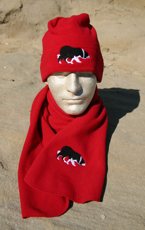 Fleece Beanie with Embroidered Border Collie