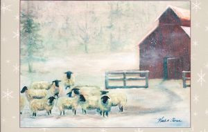 """Winter Sheep"" Note Card by Vickie Atkins Close"