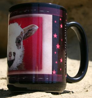 """Sheepish Smile"" Mug by Vickie Atkins Close"