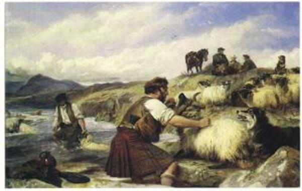 """Sheep Washing in Glen Lyon"" by Richard Ansdell"