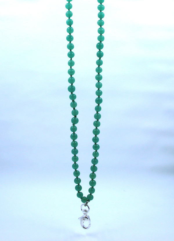 Apple Green Glass Beaded Lanyard