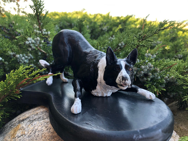 Custom Painted Smooth Coated  Border Collie - Mounted on Wood Base