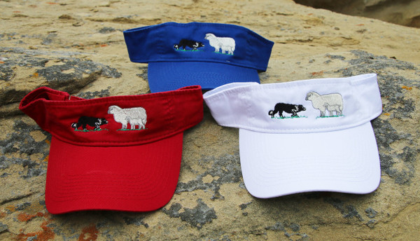 Embroidered Visor with Border Collie and Sheep