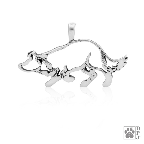 Sterling Silver Border Collie Pendant