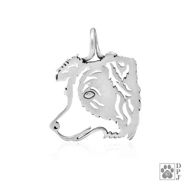 Border Collie Sterling Silver Head Silhouette
