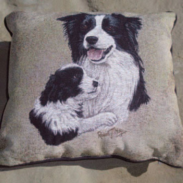 Mother & Puppy Border Collie Pillow