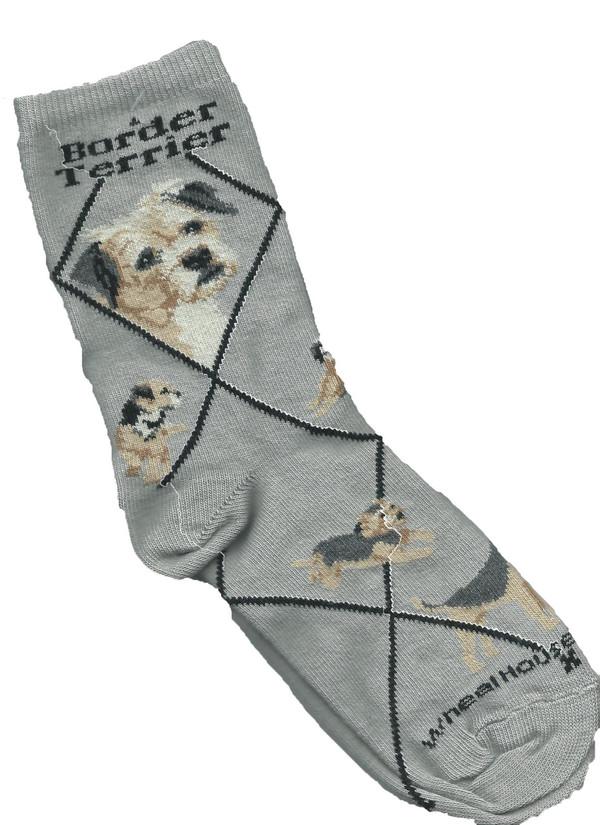 Border Terrier Socks - Gray
