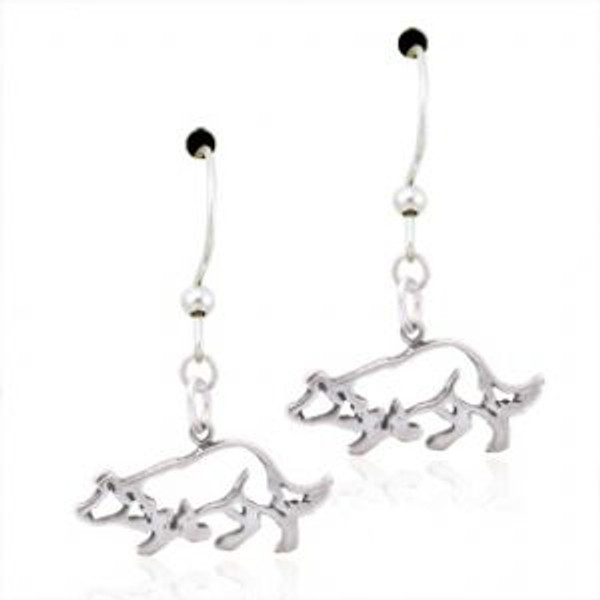 Border Collie Sterling Silver Earrings with Wires