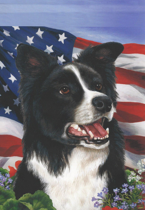 Border Collie Flag - USA & Flowers