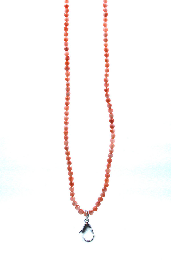 Coral Colored Beaded Lanyard