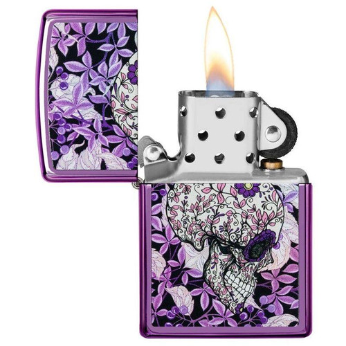 Personalised Hidden Skull High Polished Purple Genuine Zippo Lighter