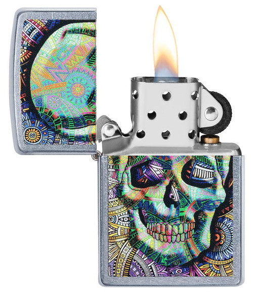 Personalised Geometric Skull  Genuine Street Chrome Zippo Lighter