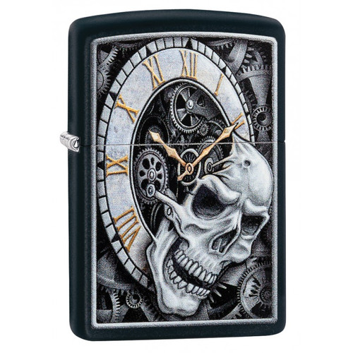 Personalised Skull Clocktower Black Matte Zippo Lighter
