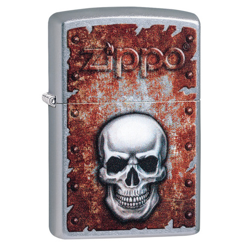 Personalised Rusty Skull  Genuine Street Chrome Zippo Lighter