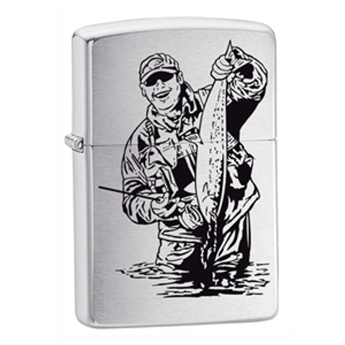 Personalised Fisherman Brushed Chrome Genuine Zippo Lighter