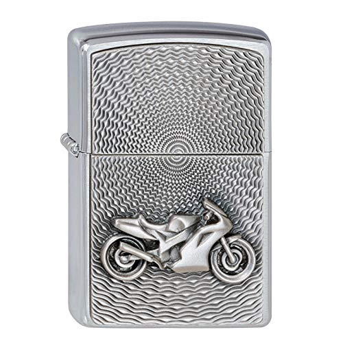 Personalised Embossed Motorcycle Design Brushed Chrome Genuine Zippo Lighter
