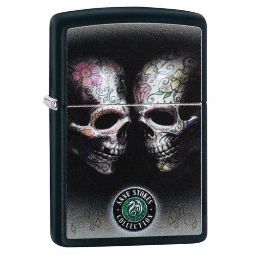 Personalised Anne Stokes Skull Design  Genuine Black Matte  Zippo Lighter