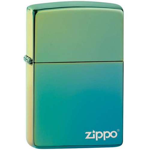 Personalised High Polished Teal Genuine Zippo Lighter