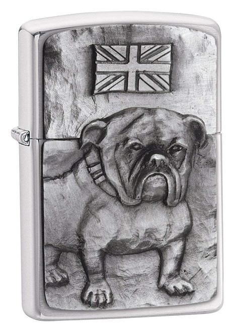 Personalised British Bulldog Brushed Chrome Genuine Zippo Lighter