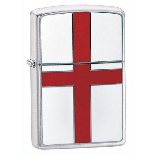 Personalised St Georges Flag Brushed Chrome Genuine Zippo Lighter
