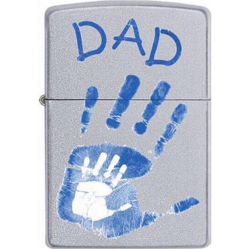 Personalised Dad Handprint Satin Chrome Genuine Zippo Lighter