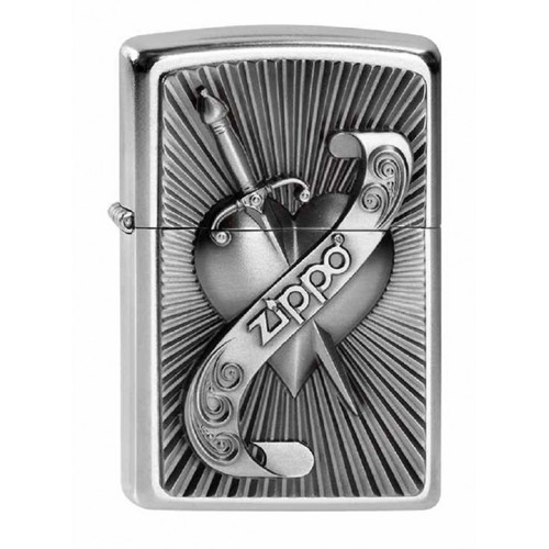 Personalised Heart & Sword Genuine Street Chrome Zippo Lighter