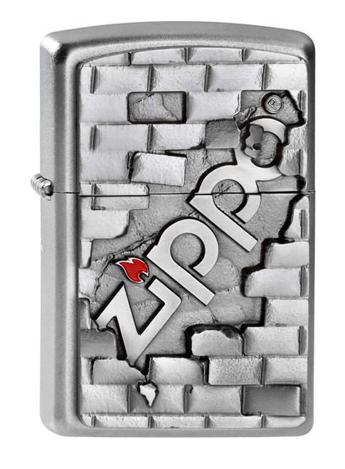 Personalised The Wall Genuine Satin Chrome Zippo Lighter