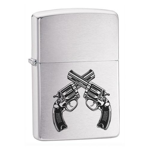 Personalised Guns Brushed Chrome Zippo Lighter