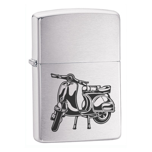 Personalised Vespa Design Brushed Chrome Zippo Lighter