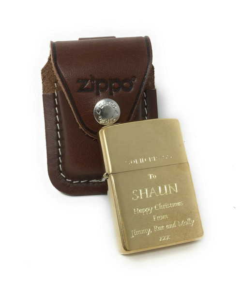 Personalised Brushed Brass Zippo Lighter & Pouch Gift Set