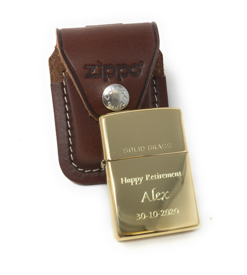 Personalised Polished Brass Zippo Lighter & Pouch Gift Set