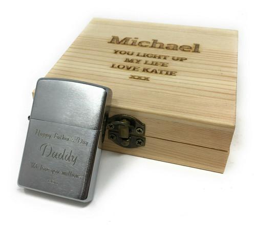 Personalised Genuine Brushed Chrome  Zippo Lighter Wooden Gift Set