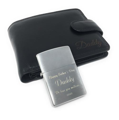 Personalised Luxury RFID Genuine HT10 Luxury Leather Wallet & Brushed Chrome Zippo Lighter Gift Set