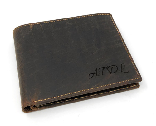 Personalised RFID Genuine Oiled Tanned Brown Leather Wallet (Best Seller)